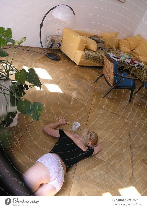 Woman Feminine Eroticism Flat (apartment) Parquet floor Afternoon Floor covering