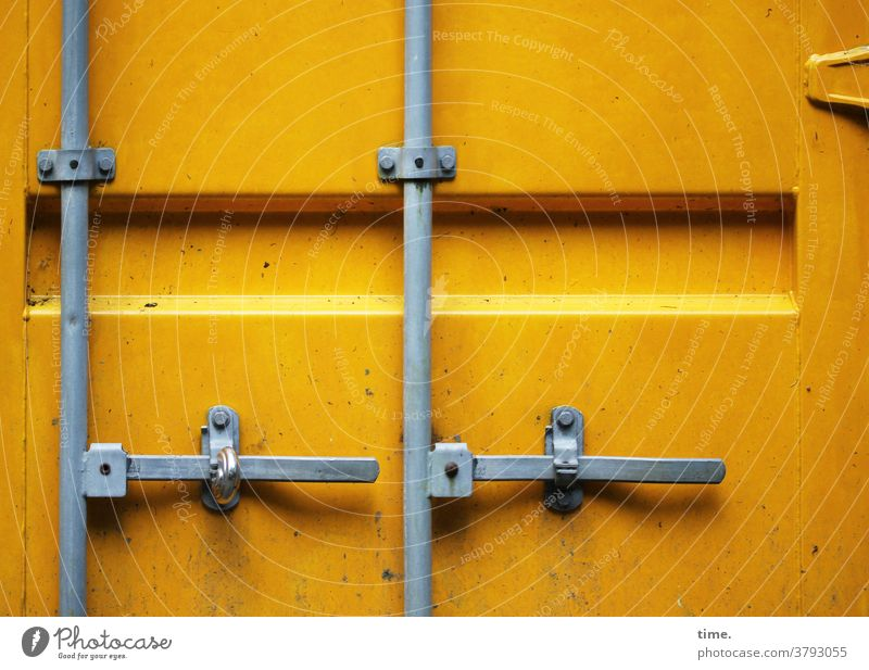 safe is safe is... Container Metal Iron daylight Tin Sign Second-hand Lock too locked Safety Locking bar Yellow Gray Hinge door