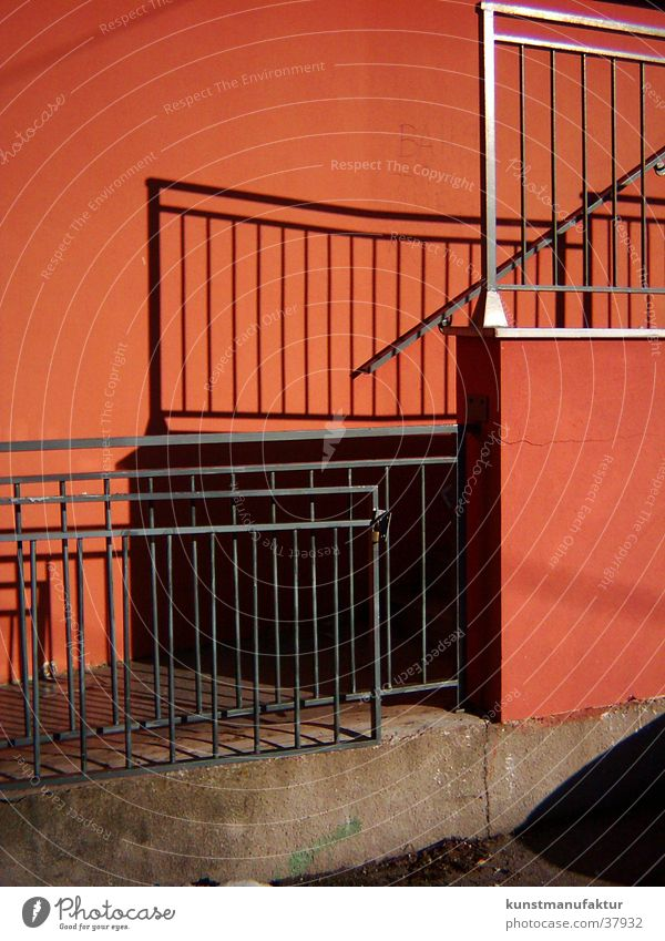 detailed view Red Grating Architecture Handrail Sun Shadow Ladder Stairs