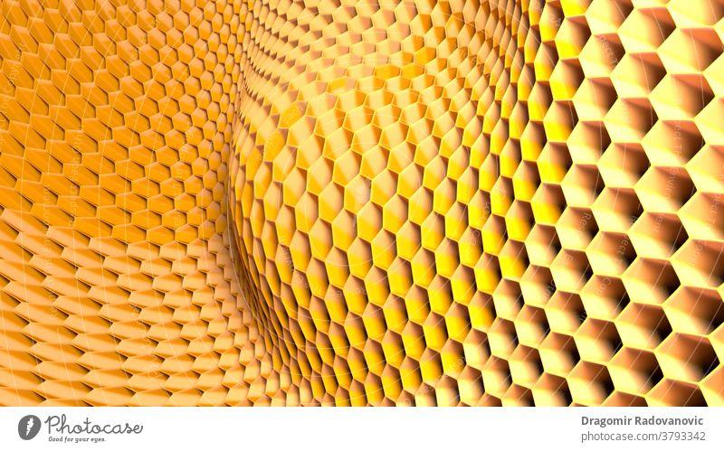3d illustration of hexagonal abstract honeycomb structure. 3d render Honecomb Light art backdrop background banner bees beeswax digital futuristic health