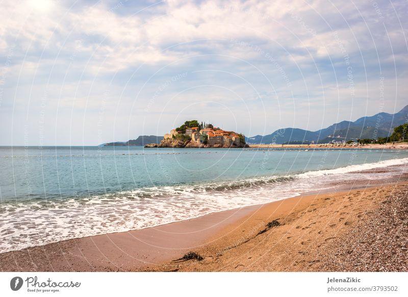 Sveti Stefan islet in Montenegro adriatic mediterranean landscape stefan water coast sveti travel beach tourism montenegro island nature sea architecture summer