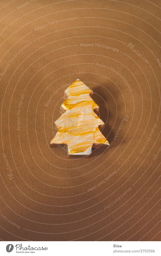 Golden painted wooden Christmas tree Christmas decoration fir tree Wood Christmassy golden Christmas & Advent Brown Painted