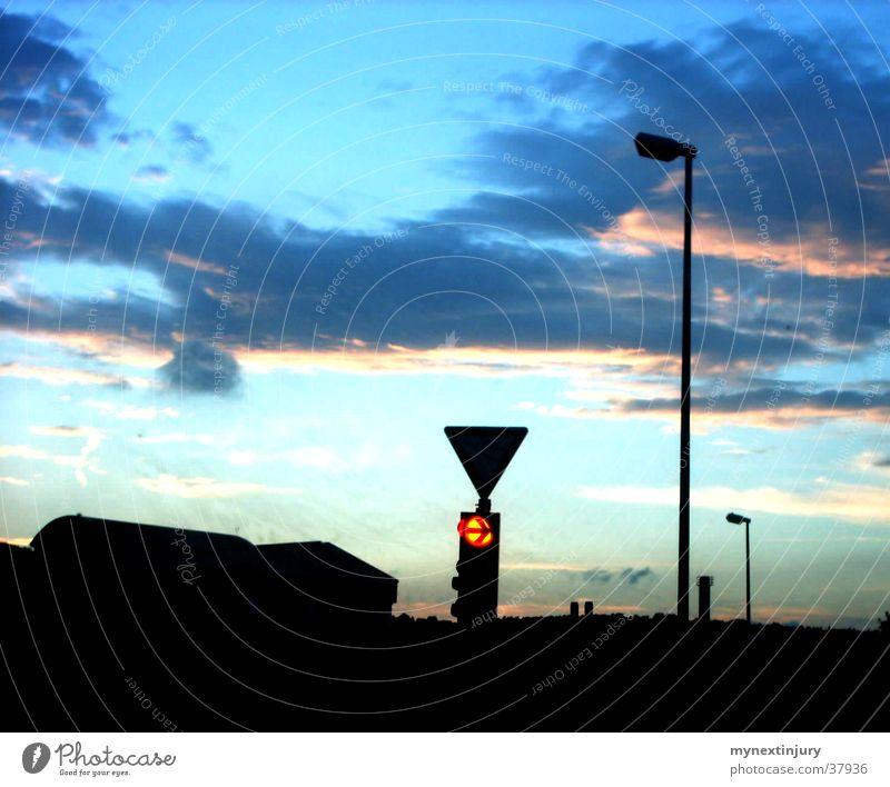 small-town evening Sunset Lantern Traffic light Small Town Light Clouds