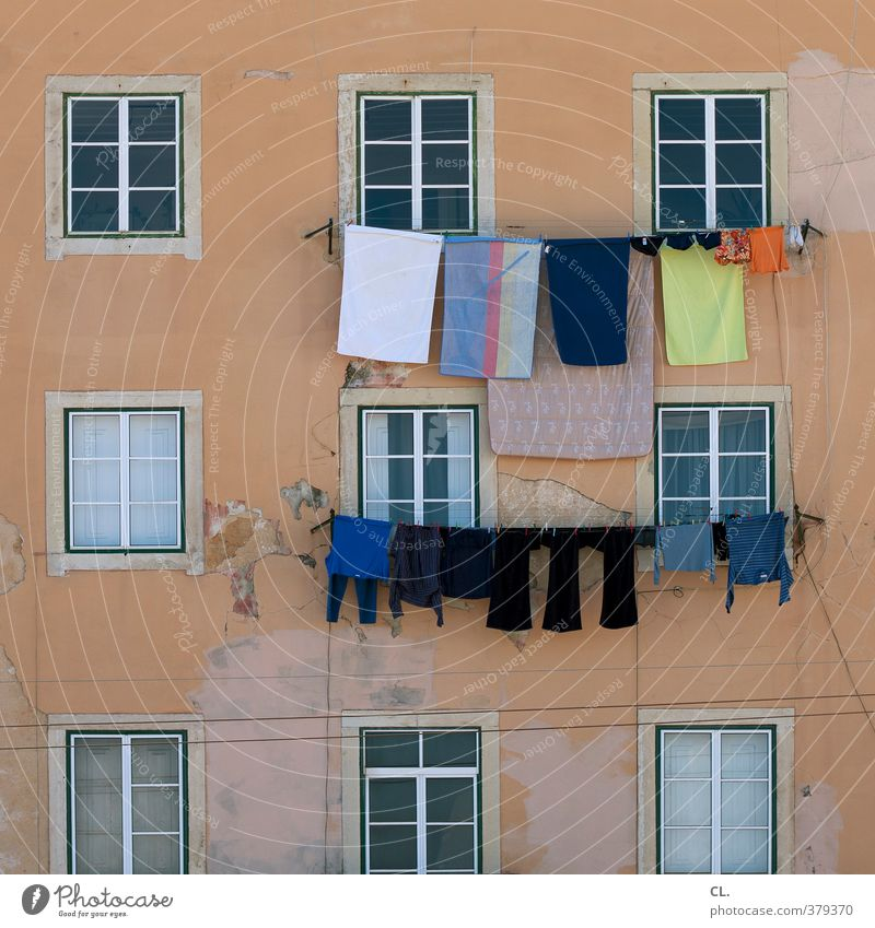 washing day Vacation & Travel Living or residing Flat (apartment) House (Residential Structure) Wall (barrier) Wall (building) Facade Window Happiness