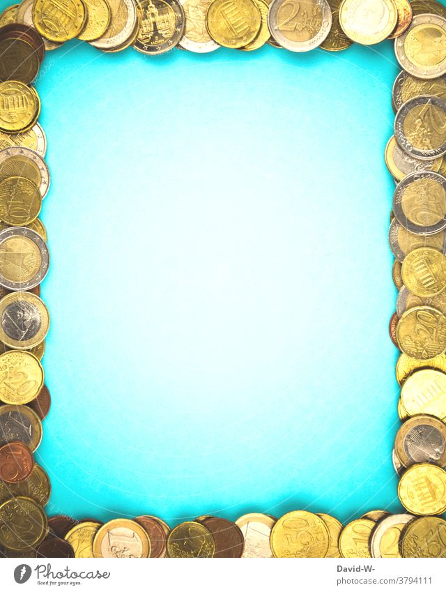 a frame of coins Money Euro Placeholder Frame Image Luxury Success Coin Coins euro coins Copy Space