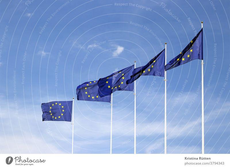 european flags waving in the wind European flag Flags Council of Europe european community European Union union fellowship compound EU Yellow Gold golden Blue