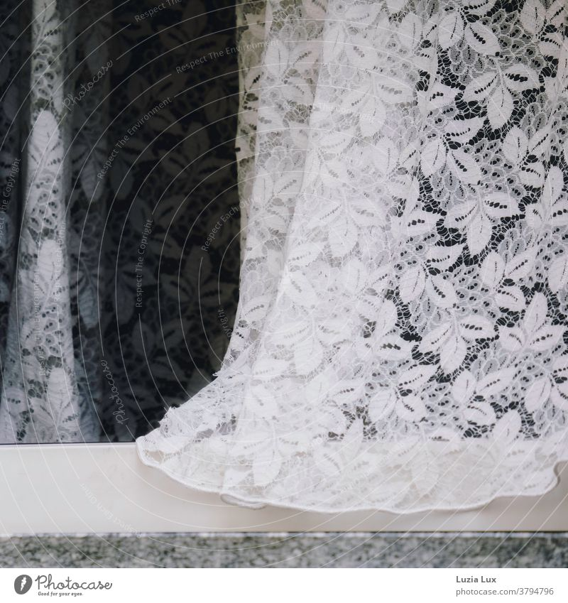 Delicate lace or a curtain that has blown a breeze a little bit outside Curtain Point Drape Deserted Cloth Living or residing Window Light White Day Detail Gray