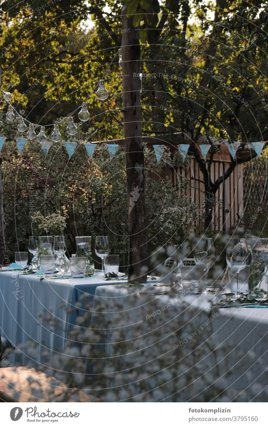 set garden table with blue tablecloth and decoration in garden garden idyll romantic Romance Garden Table Summer Decoration laid table Garden festival