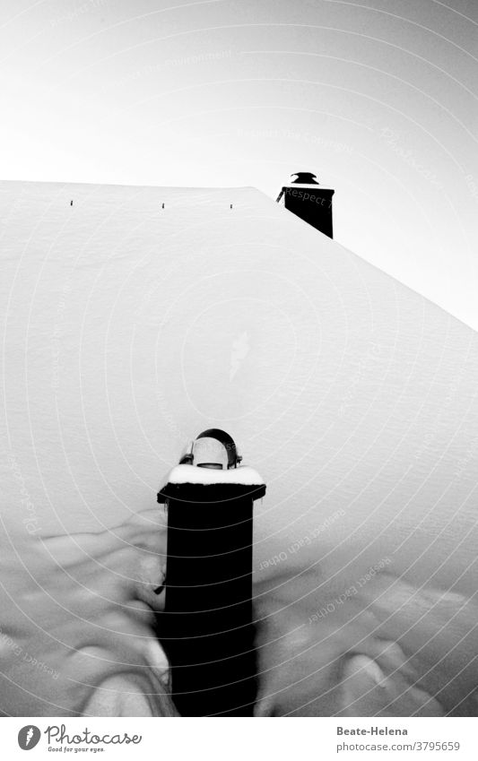 Even more snow: two chimneys protrude from snow-covered roof Snow Black Forest White Winter Fireside Roof black-white Cold Bright snowed in