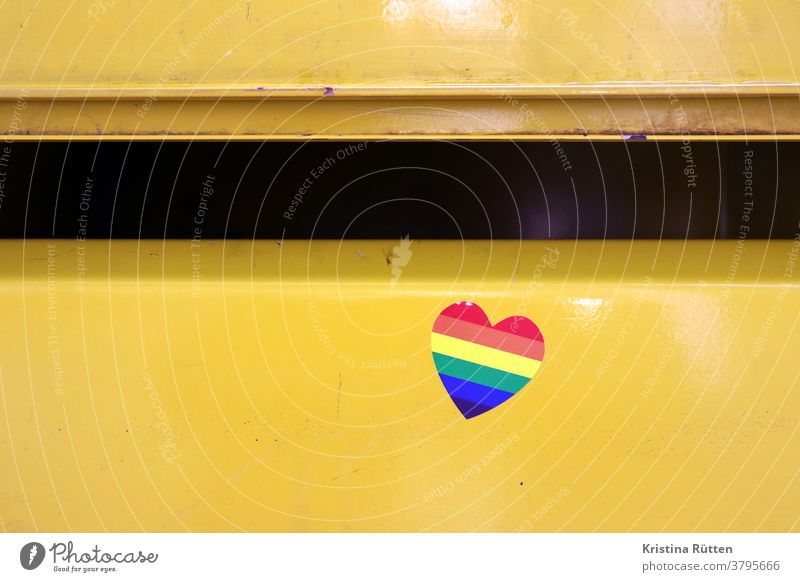 rainbow heart sticker on mailbox Heart sweetheart Rainbow Prismatic colors Mailbox Mailbox slot symbol symbolic LGBT gay lesbian lesbians Transgender queer