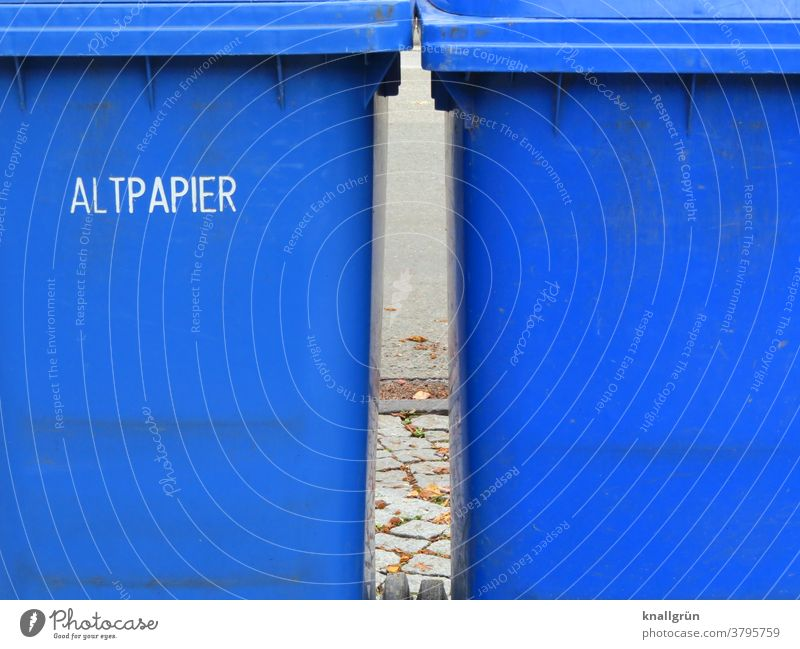 Two blue waste paper bins side by side Recycling Trash Environmental protection Trash container Waste management Waste paper Waste utilization Dispose of