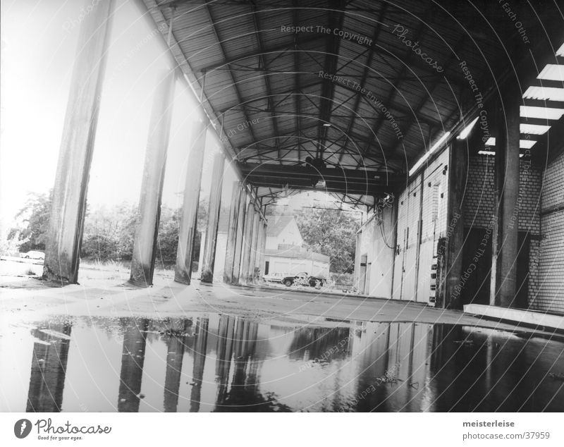 Industry 02 Building Factory Column Puddle Decline Water Loneliness Black & white photo Architecture