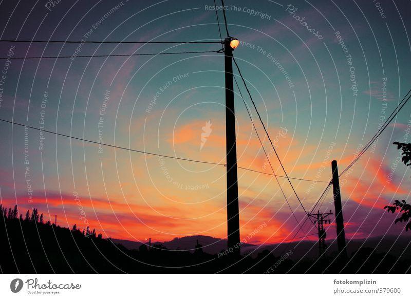 sky-red Environment Sky Sunrise Sunset Outskirts Deserted Street lighting Lamp post Lantern power cables Illuminate Dream Blue Red Moody Romance Calm Longing