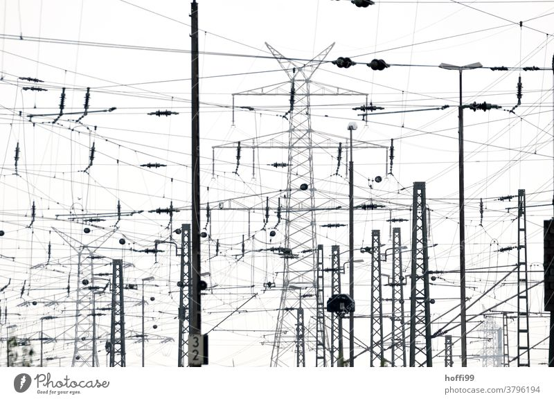 Confusion of lines in the urban environment Overhead line Electricity pylon Transmission lines Electronics Track Industry Energy industry Industrial plant