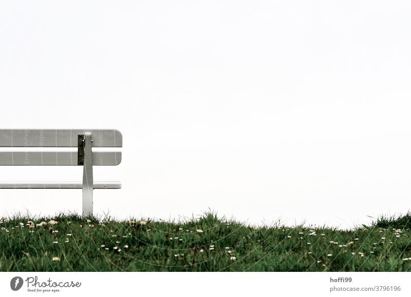 Partial view of a bank on the dike dike top Seating bench Bench dike grass Grass Dike Daisy Loneliness Relaxation Calm Sky Break Clouds Sit Meadow Nature Green