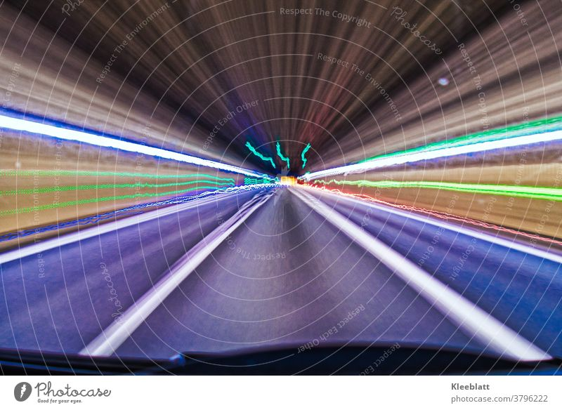 long time exposure tunnel lights 2 - light effects in the tunnel - light band Strip of light neon colours Long exposure Speed Street Night Transport