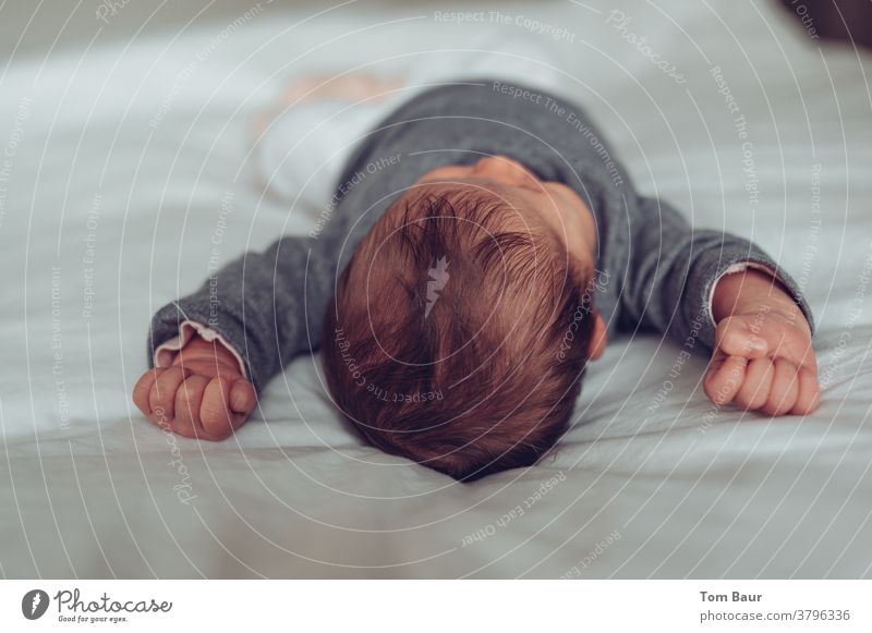 Baby on the bed stretching, arms up with clenched fists Wake up Stretching loosen up Horizontal Relaxation Copy Space pretty indoors infant Sleep Bedroom Head