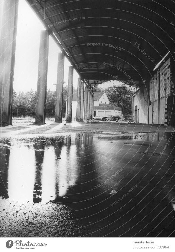 Industry 01 Building Factory Column Puddle Decline Water Loneliness Black & white photo Architecture