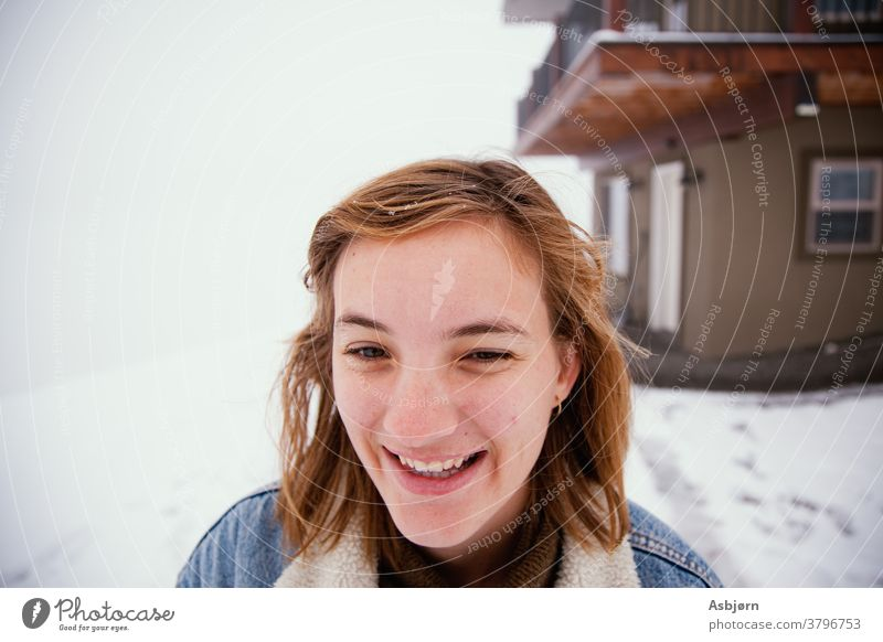 Woman in the snow play play in the snow Snow Cold ice frost winter snowday snowed in snowed over happy laughing White Ice Exterior shot horizontal outdoors