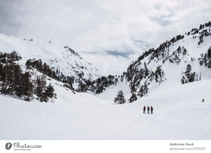 Winter landscape of snowy mountains travel discovery hill outdoors cold recreation adventure scenery ski range winter tourism activity ridge rock peak