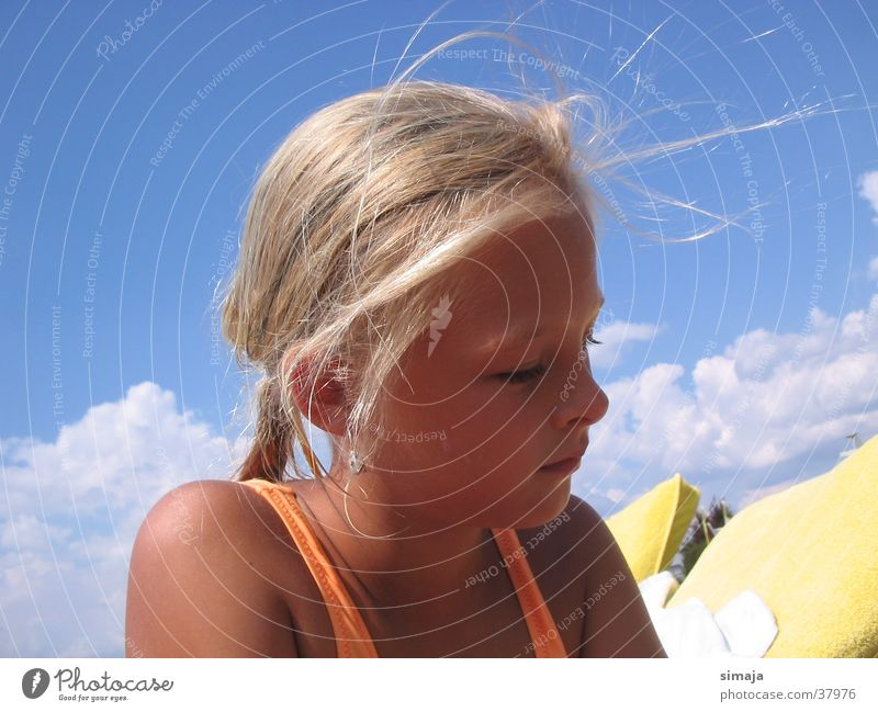 Woman Child Summer Beach Blonde Good mood