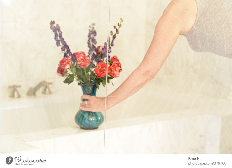 in memoriam Style Living or residing Bathtub Bathroom Feminine 1 Human being Bright Blue Bouquet Flower vase Rose Foxglove Tap Place down Arm Hand Upper body