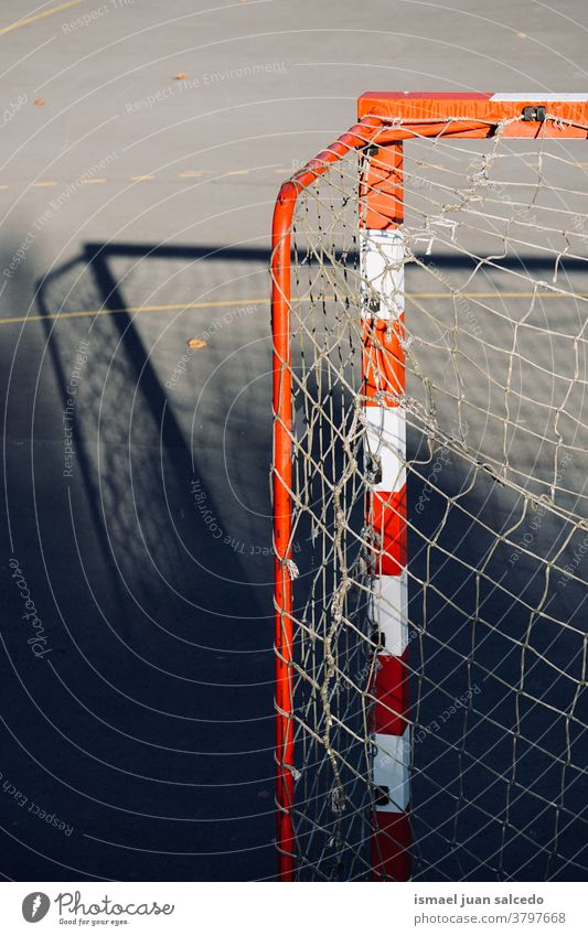 old soccer goal sports equipment, street soccer in Bilbao city Spain field court soccer field net web rope play playing abandoned park playground outdoors