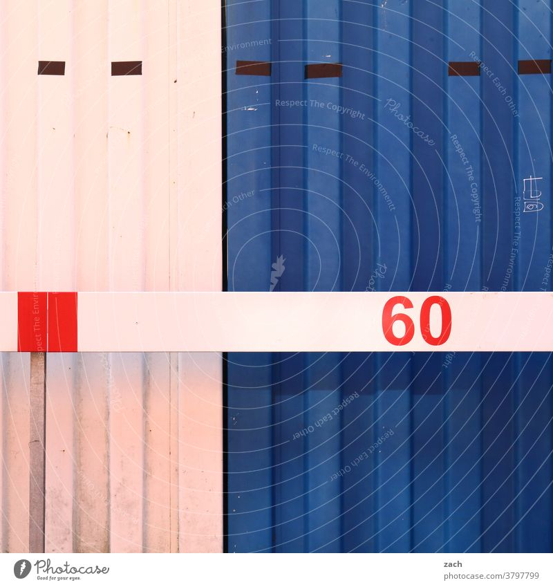 60 Facade Wall (barrier) Wall (building) Manmade structures lines Container Blue White locked Closed sixty number Digits and numbers