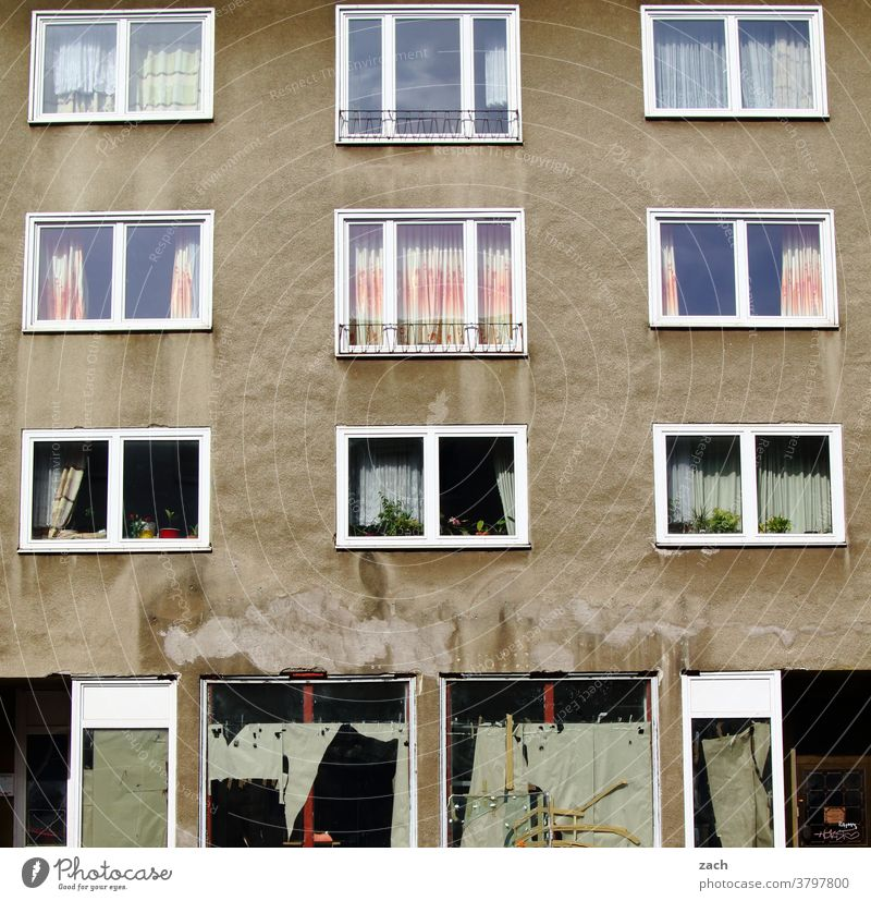behind the facades House (Residential Structure) Facade Wall (barrier) Wall (building) Manmade structures Street Prefab construction door Broken Kassel lines