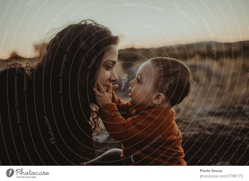 Mother and son in the fields Together togetherness motherhood Mother's Day Mother with child Toddler Love Child Family & Relations Lifestyle Infancy Parents