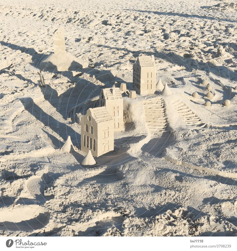 Houses with sea view Houses made of sand Beach Sand transient Sand Art fun Build Joy Playing vacation hobby Island Wangerooge rectangular houses trees