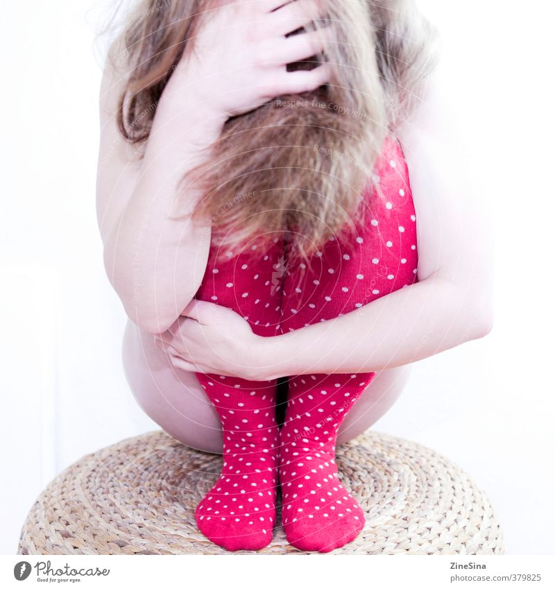 . Feminine 1 Human being 18 - 30 years Youth (Young adults) Adults Stockings Blonde Red Colour photo Studio shot
