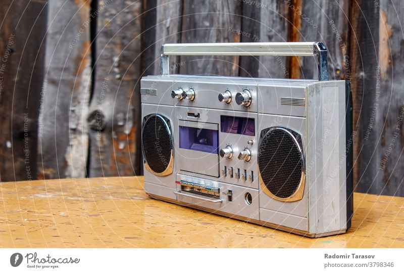 retro cassette player on the table music sound radio tape stereo speaker vintage audio style object entertainment technology old portable broadcast electronic