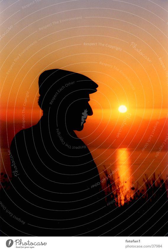Shepherd at sunset Man Silhouette Sunset Ocean Cap Back-light Black Profile