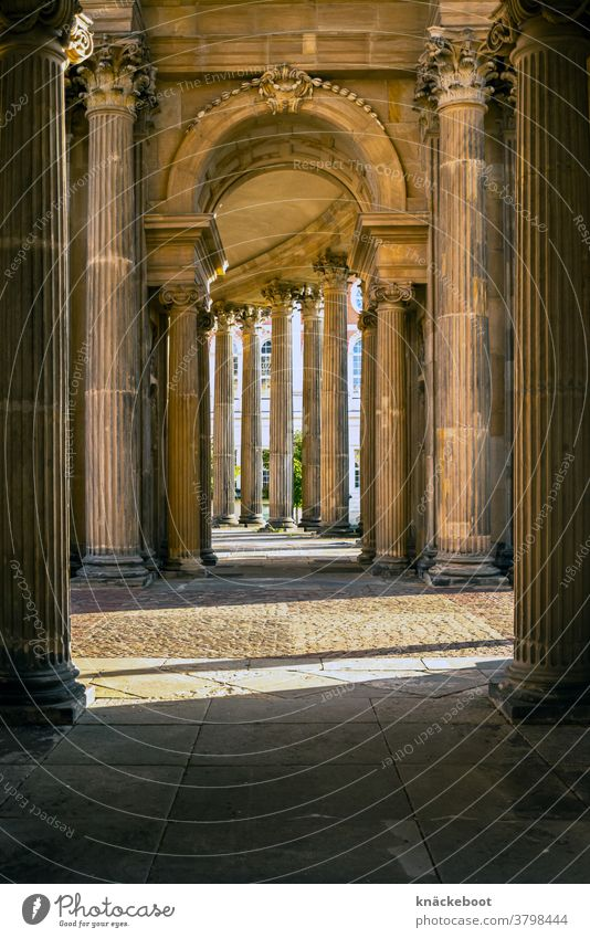 columns portico Architecture Light Corridor Central perspective Deserted Colour photo
