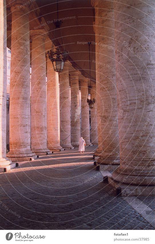 Architecture Analog Clergyman Column Dusk Rome Evening sun Nun Peter's square