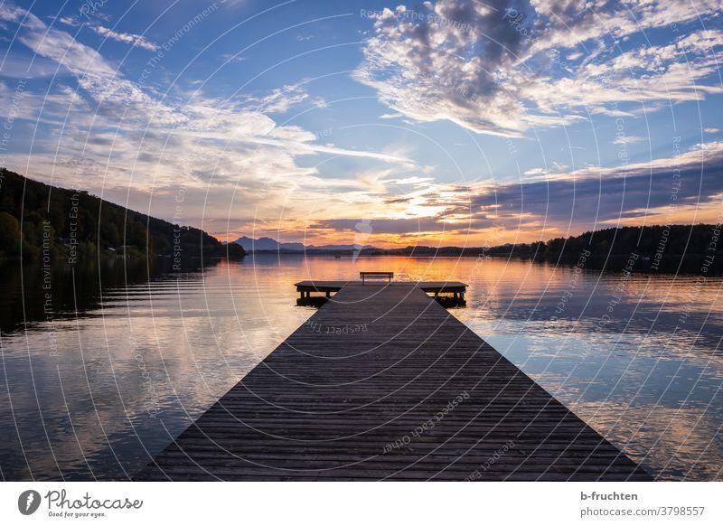 jetty at dusk Footbridge Water Lake Sunset Blue Romance Loneliness Relaxation Reflection Sky Calm Evening Landscape Lakeside Dusk Twilight Deserted Clouds
