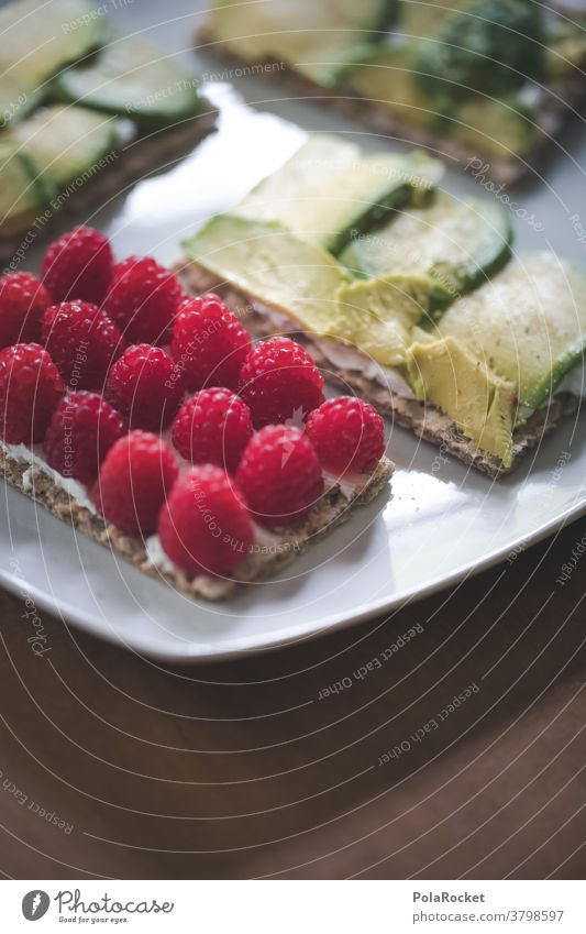 #A# Breakfast with raspberries and avocado Food photograph Eating Diet Healthy Eating Organic produce Colour photo Avocado Vegetarian diet Nutrition Crispbread