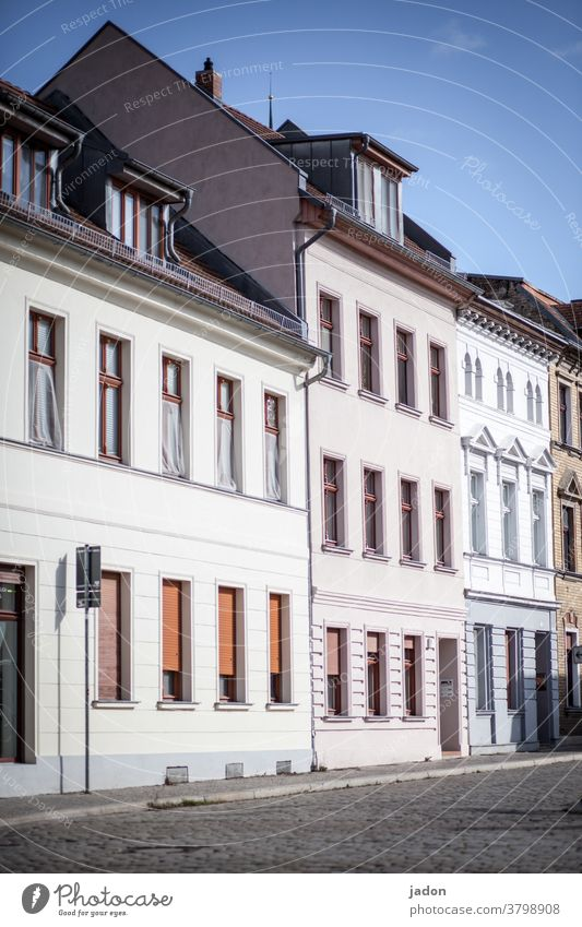 empty streets (31). Housefront Facades House (Residential Structure) Architecture Exterior shot Building Deserted Town Day Old town Downtown Old building Window