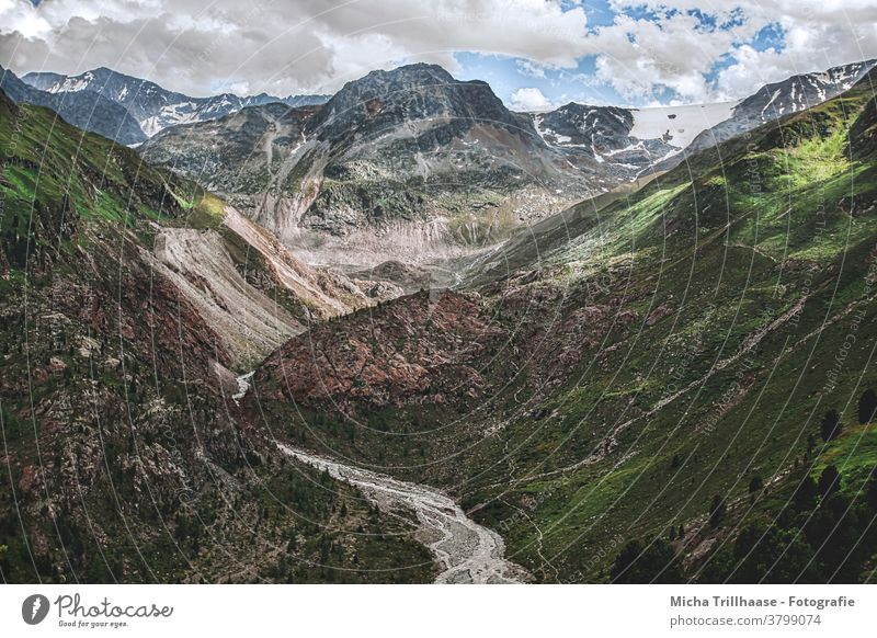 Alpine landscape in Kaunertal / Austria Kaunertal Glacier Glacier road Tyrol mountains Peak valleys rock Rock meadows trees Landscape Nature Sky Clouds Sun