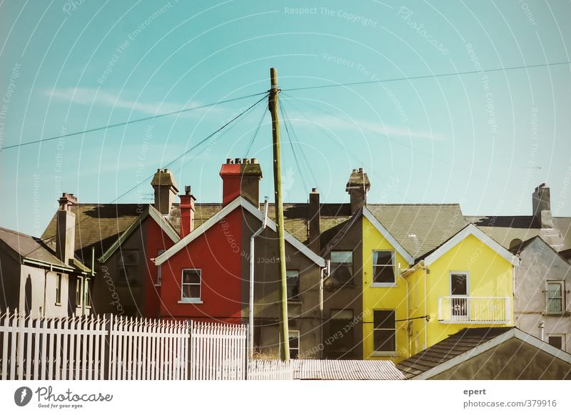 grey | red | grey | yellow House (Residential Structure) Wall (barrier) Wall (building) Facade Roof Exceptional Uniqueness Town Yellow Gray Red Colour