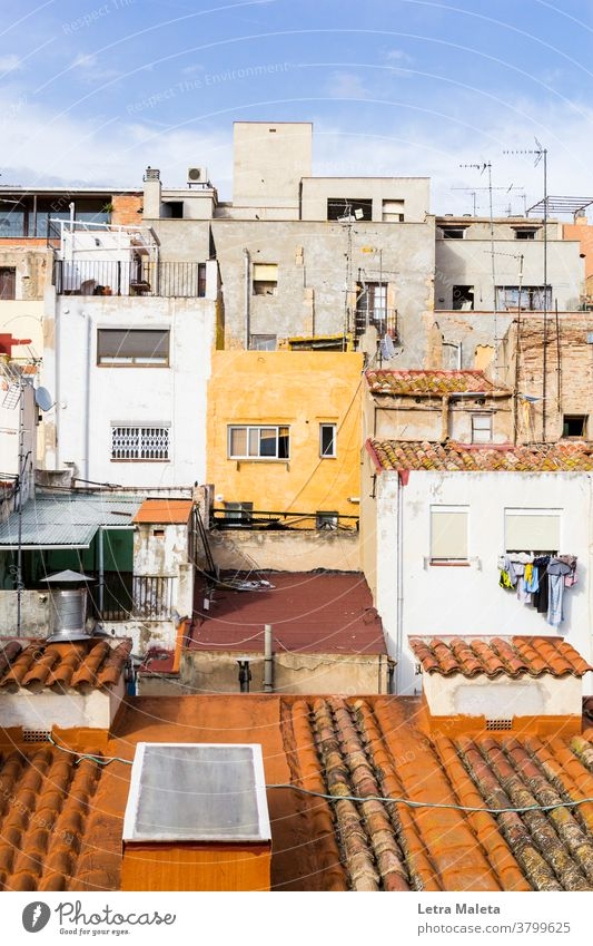 Old buildings and roofs of tarragona old yellow yellow building yellow house windows spain houses Arquitecture city mediterranean city