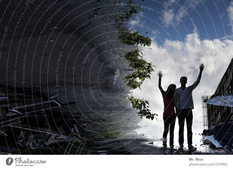 upside down Lifestyle Masculine Feminine Brothers and sisters Couple 2 Human being Environment Sky Clouds Stand Puddle Wet Wave Hand Weed Industrial site