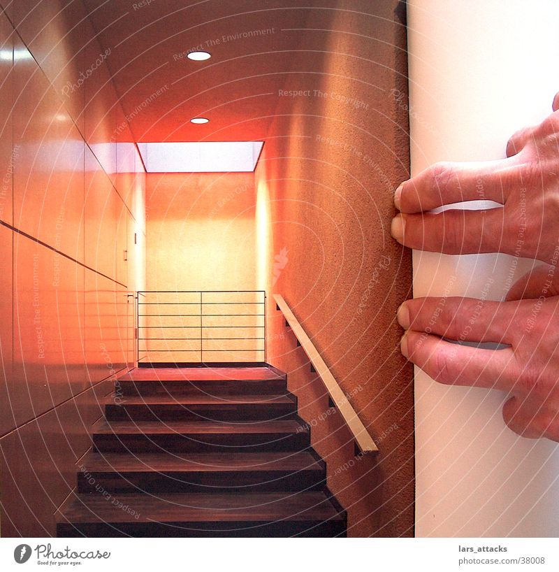 finger space Room Light Fingers Macro (Extreme close-up) Photography Stairs Trick Style Nail Design Orange Perspective Architecture Modern Lens Idea