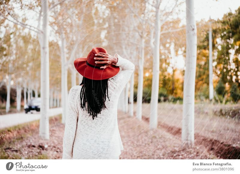 portrait of mid adult hispanic woman wearing a hat at sunset during golden hour, autumn season, beautiful path of trees background. back view afro woman latin