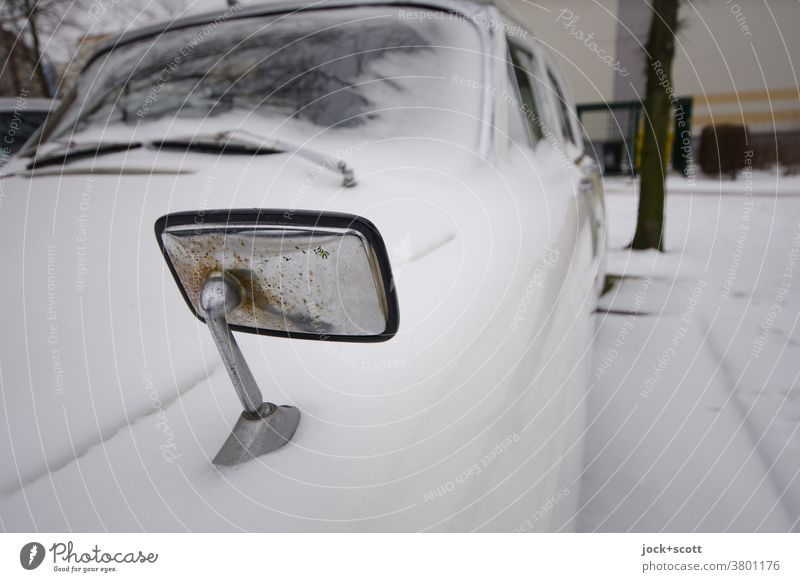 Parking in winter Car car Snow Winter Cold Structures and shapes Retro Sixties Vintage car Street Design Chrome Nostalgia Car body Parking lot Rust Windscreen