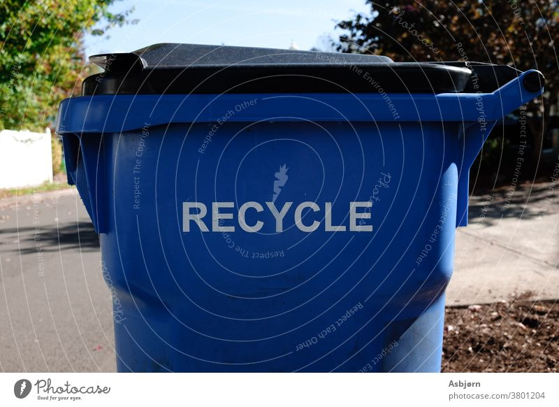 Recycle please enviroment global warming trash garbage Climate change blue street recycling container Trash Recycling Environmental protection waste Plastic