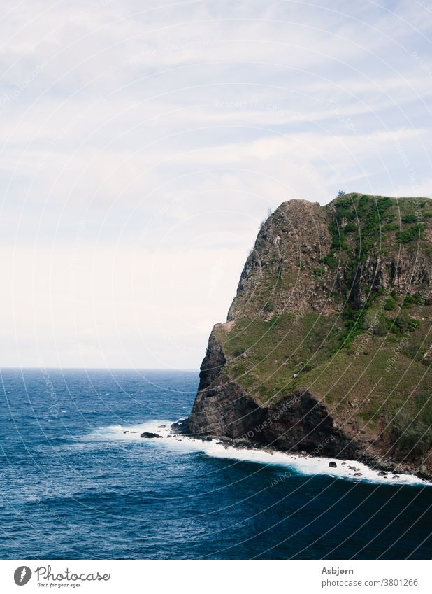 Dramatic Cliff hawaii maui cliff edge background blue picturesque outdoors overlooking destination seashore copy space wonderful wildlife sky nature water