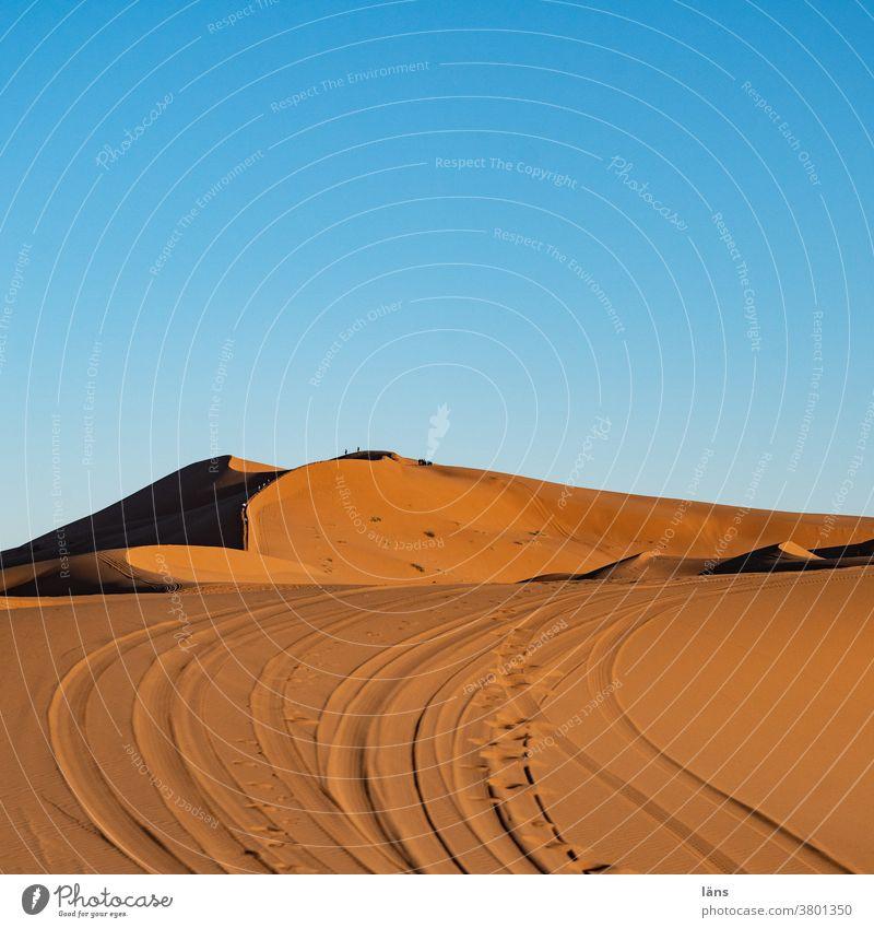 Tracks in the desert Desert Sahara Africa Car tracks Vacation & Travel Sand Morocco Deserted duene Colour photo Arabia Day Landscape Tourism Merzouga Trip