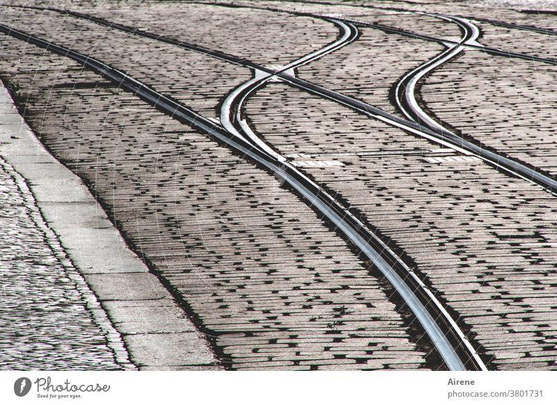 pretty empty street Street Gray Paving stone Railroad tracks Tram Rail transport Cobbled pathway Railroad system Pedestrian precinct paving tramway Deserted